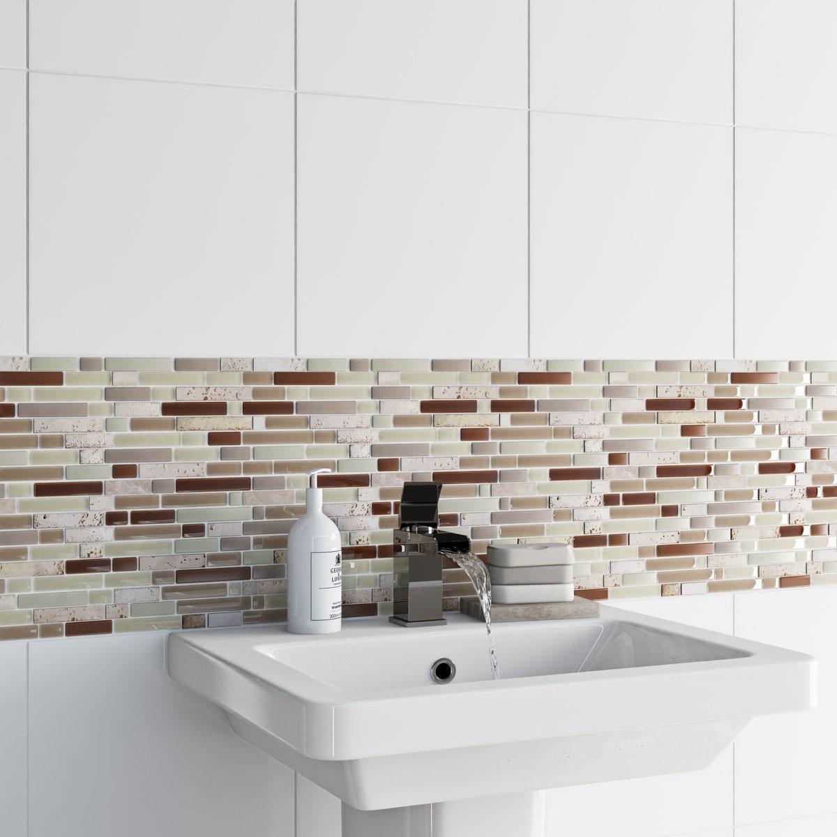 British ceramic tile mosaic nougat beige gloss tile 300mm x 300mm british ceramic tile mosaic nougat beige gloss tile 300mm x 300mm 1 sheet dailygadgetfo Images