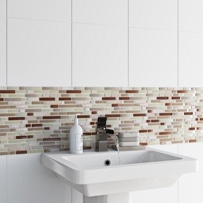 British Ceramic Tile Mosaic nougat beige gloss tile 300mm x 300mm - 1 sheet