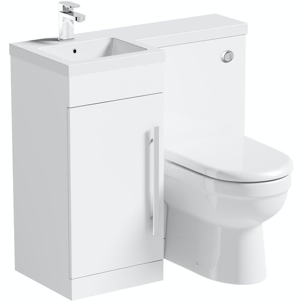 MySpace white left handed unit with Eden back to wall toilet