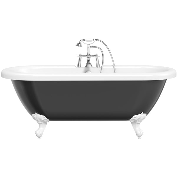 The Bath Co.Dulwichblack roll top bath with white ball and claw feet offer pack