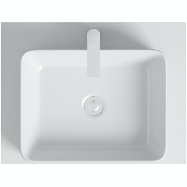 Mode Orion white countertop shelf with Ellis basin, tap and waste
