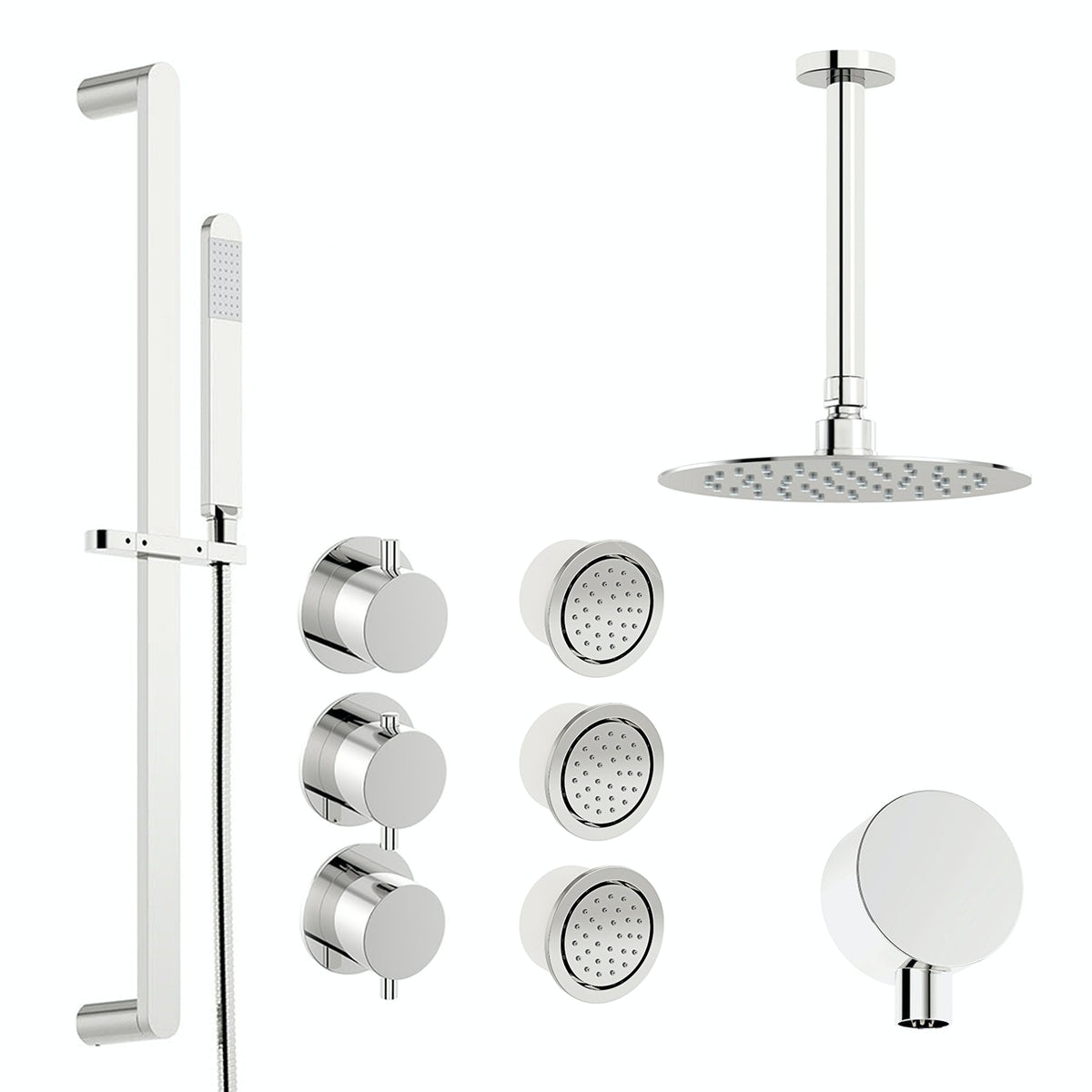 Mode Hardy thermostatic shower valve with complete ceiling shower set