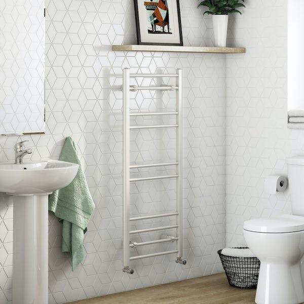 Clarity white heated towel rail 1200 x 500