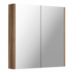 Walnut 2 door bathroom mirror cabinet offer pack