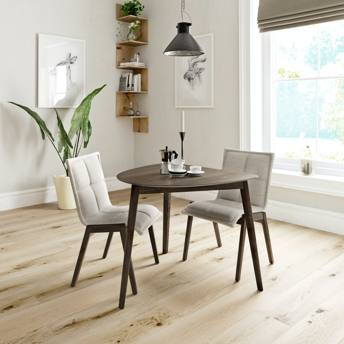 Harrison Walnut Table with 2x Hadley beige chairs