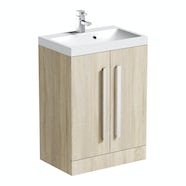 Orchard Wye oak vanity unit with basin 600mm