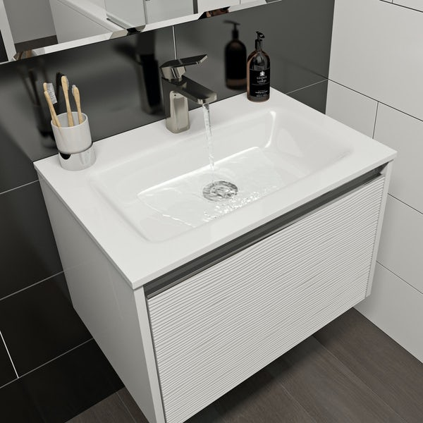 Mode Banks Textured Matt White Wall Hung Vanity Unit And Basin 600mm Victoriaplum Com