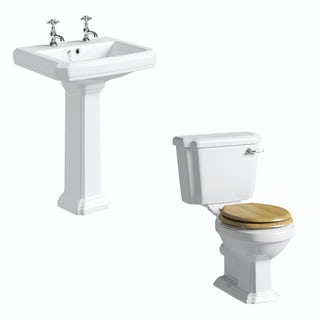 Dulwich toilet suite with oak effect seat and full pedestal basin 600mm