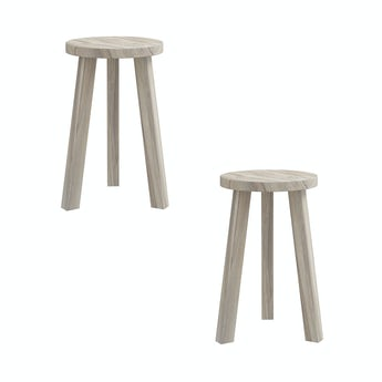 Reeves Pair of Eli greywash round stools