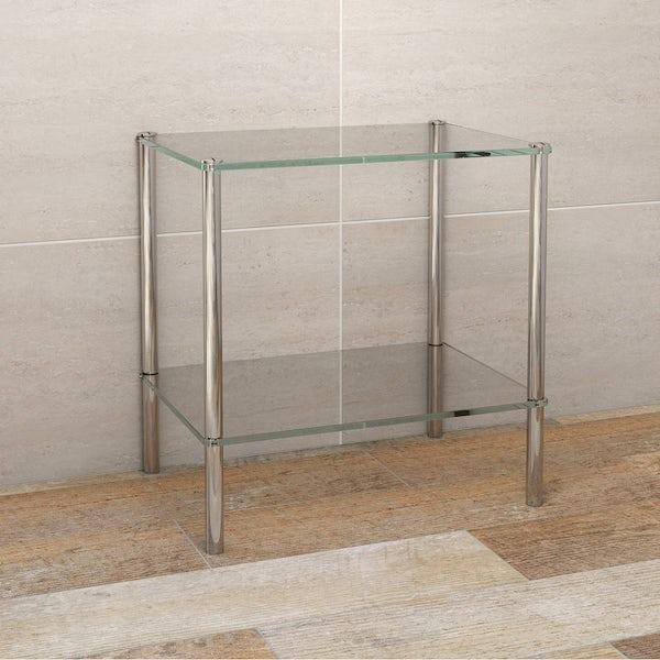 Options Freestanding Square 2 Glass Shelf Unit