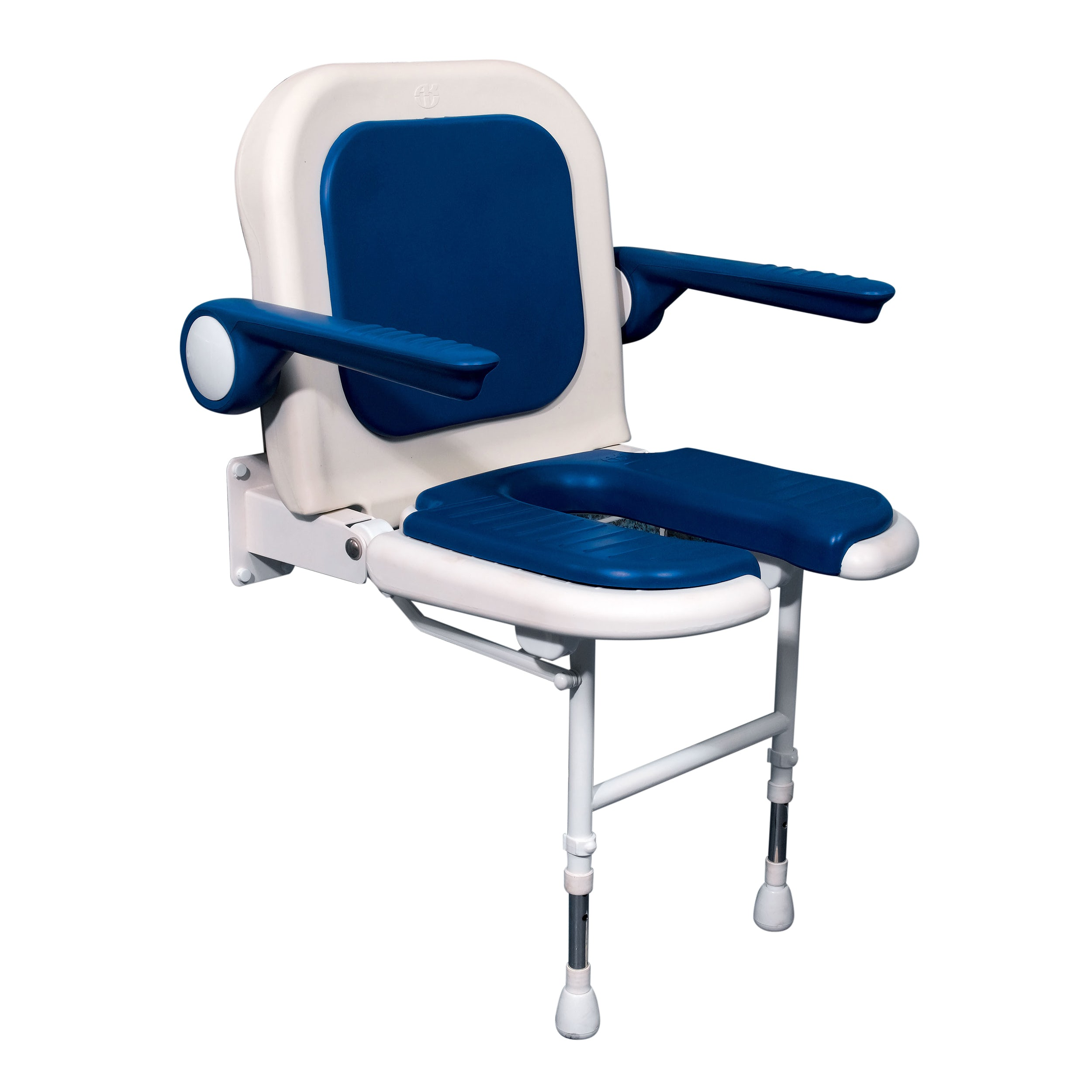 AKW Advanced folding shower seat with moulded seat and full padding blue - Sold by Victoria Plum