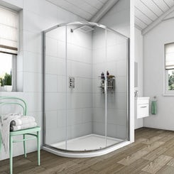 Simplicity 6mm single door offset quadrant shower enclosure 900 x 760