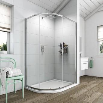 Simplicity 6mm One Door Offset Quadrant Shower Enclosure 900 x 760