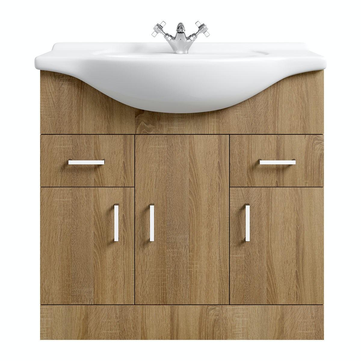 Superb Sienna Oak 85 Vanity Unit U0026 Basin
