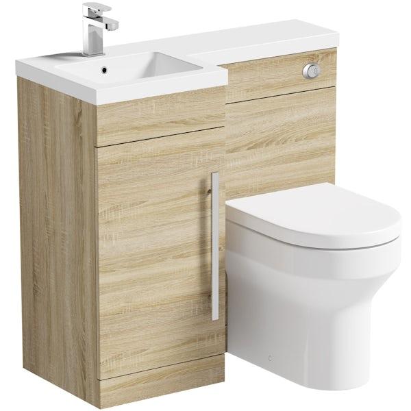 MySpace Oak left handed unit with Oakley back to wall toilet