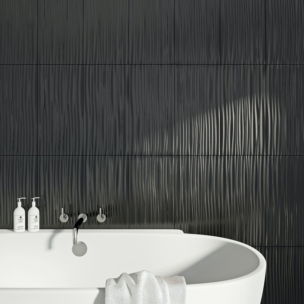 British Ceramic Tile Pure black wave gloss tile 248mm x 498mm