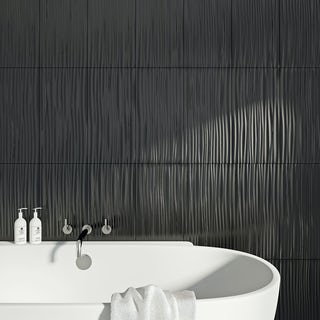 British Ceramic Tile Pure black wave gloss tile 248mm x 498mm