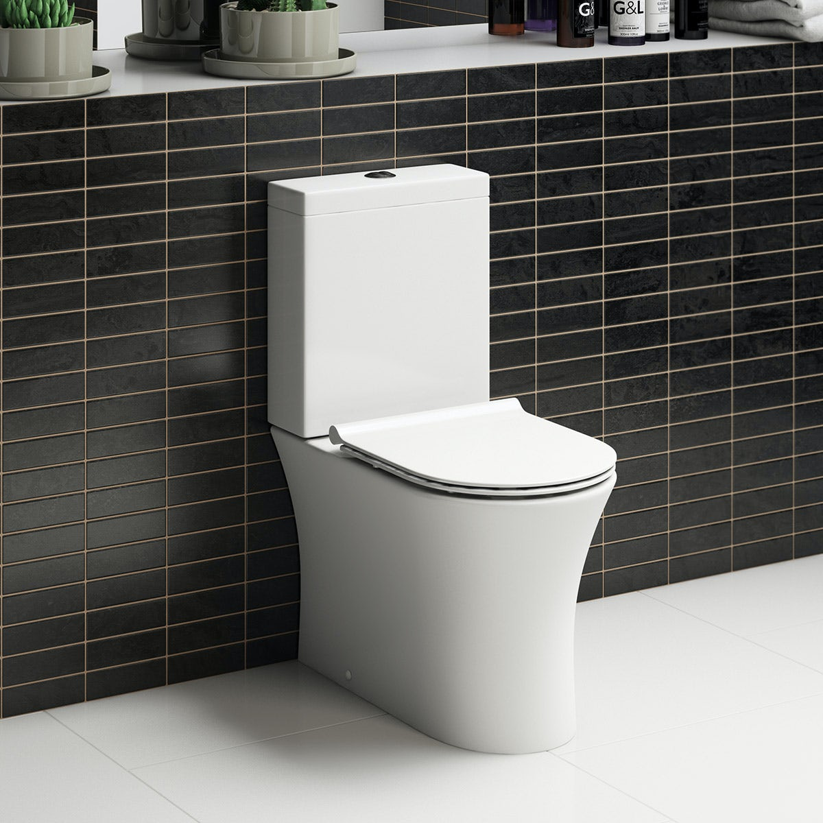 Mode Hardy rimless close coupled toilet inc slimline soft close seat