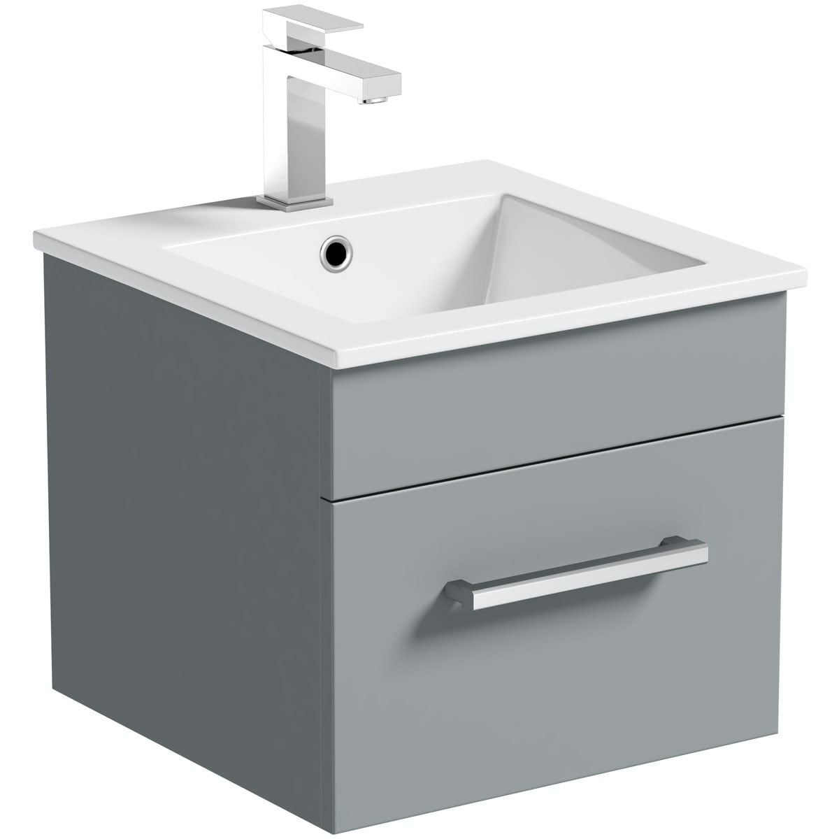 Orchard Derwent stone grey wall hung cloakroom vanity unit and basin 420mm