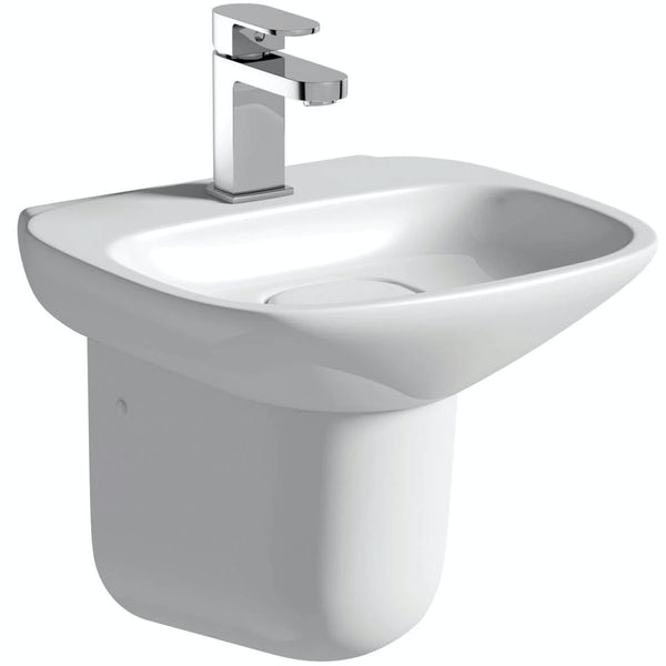 Mode Heath cloakroom suite with semi pedestal basin 400mm