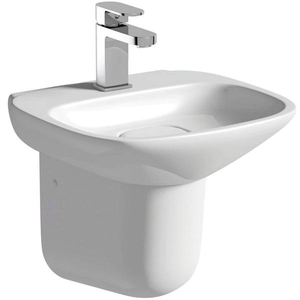 Heath Fairbanks close coupled toilet and semi pedestal basin suite