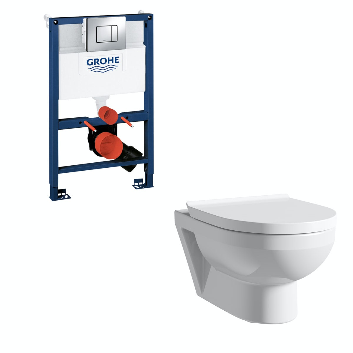 Duravit Durastyle Basic rimless wall hung toilet with soft close seat, Grohe Rapid SL frame and Skate Cosmopolitan push plate