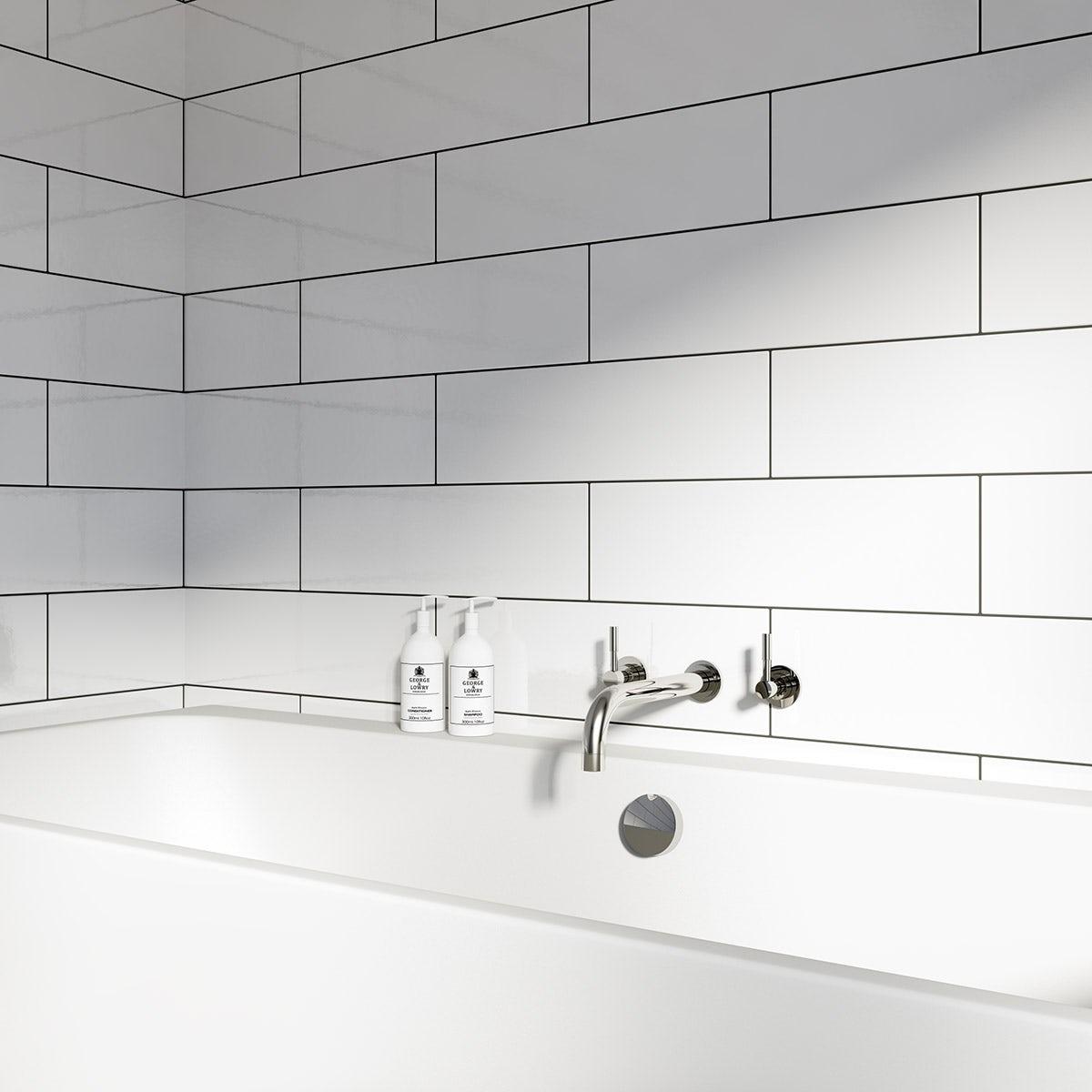 Maxi Metro white gloss tile 148mm x 498mm