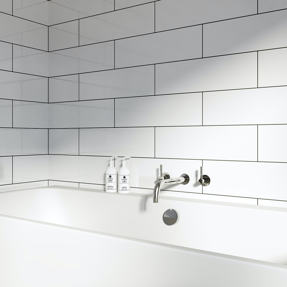 British Ceramic Tile Maxi Metro Pure white gloss tile 148mm x 498mm