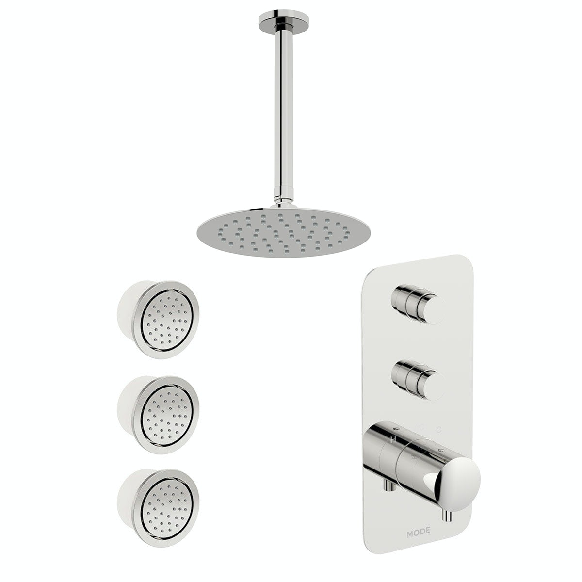 Mode Foster thermostatic push button shower set with ceiling arm and body jets