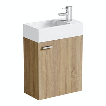 Oak wall hung cloakroom unit with basin 410mm