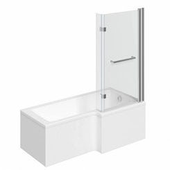 Boston right handed L shaped shower bath 1700mm with 8mm hinged shower screen and rail