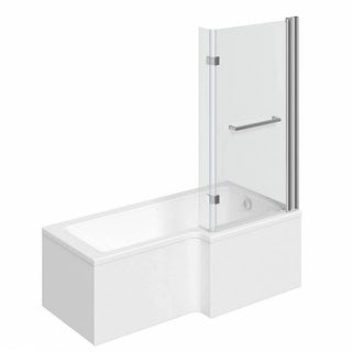 Boston Shower Bath 1700 x 850 RH inc. 8mm Hinged Screen with Towel Rail