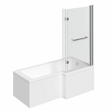 L shaped right handed shower bath 1700mm with 8mm hinged shower screen and rail