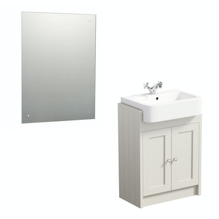 The Bath Co. Dulwich ivory semi recessed vanity unit and rectangular drilled mirror 600 x 450
