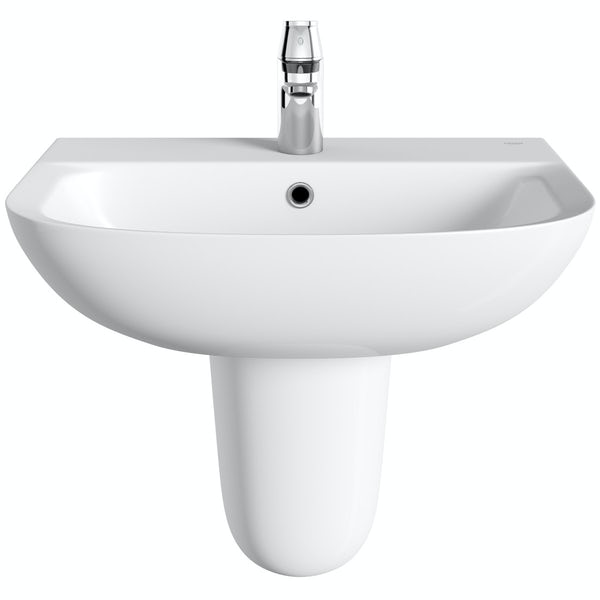 Grohe Bau 1 tap hole semi pedestal basin 550mm