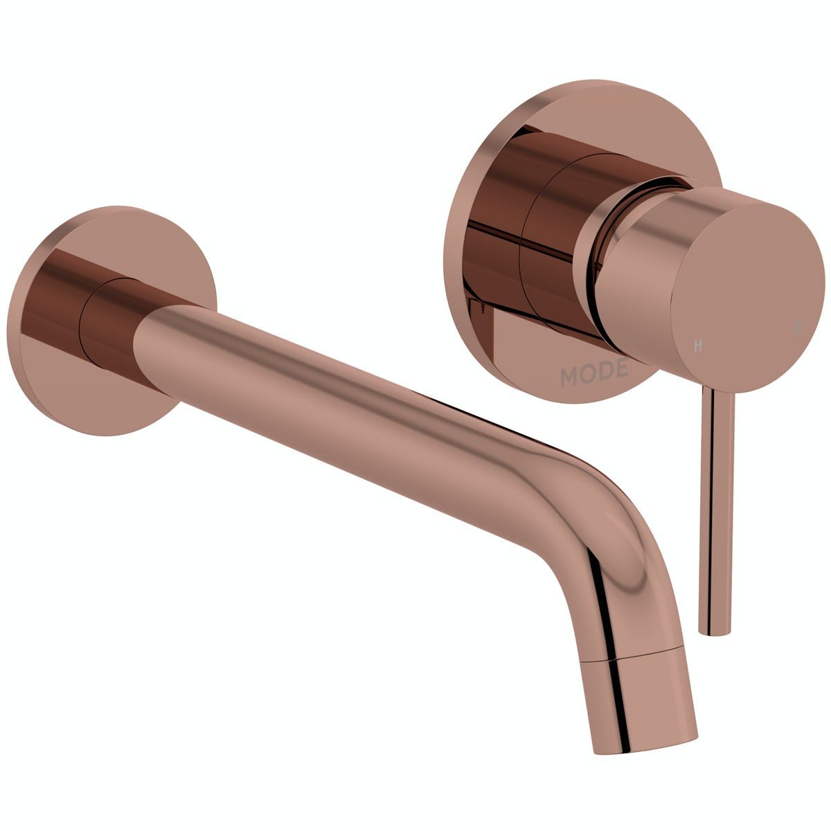 Mode Spencer round wall mounted rose gold basin mixer tap