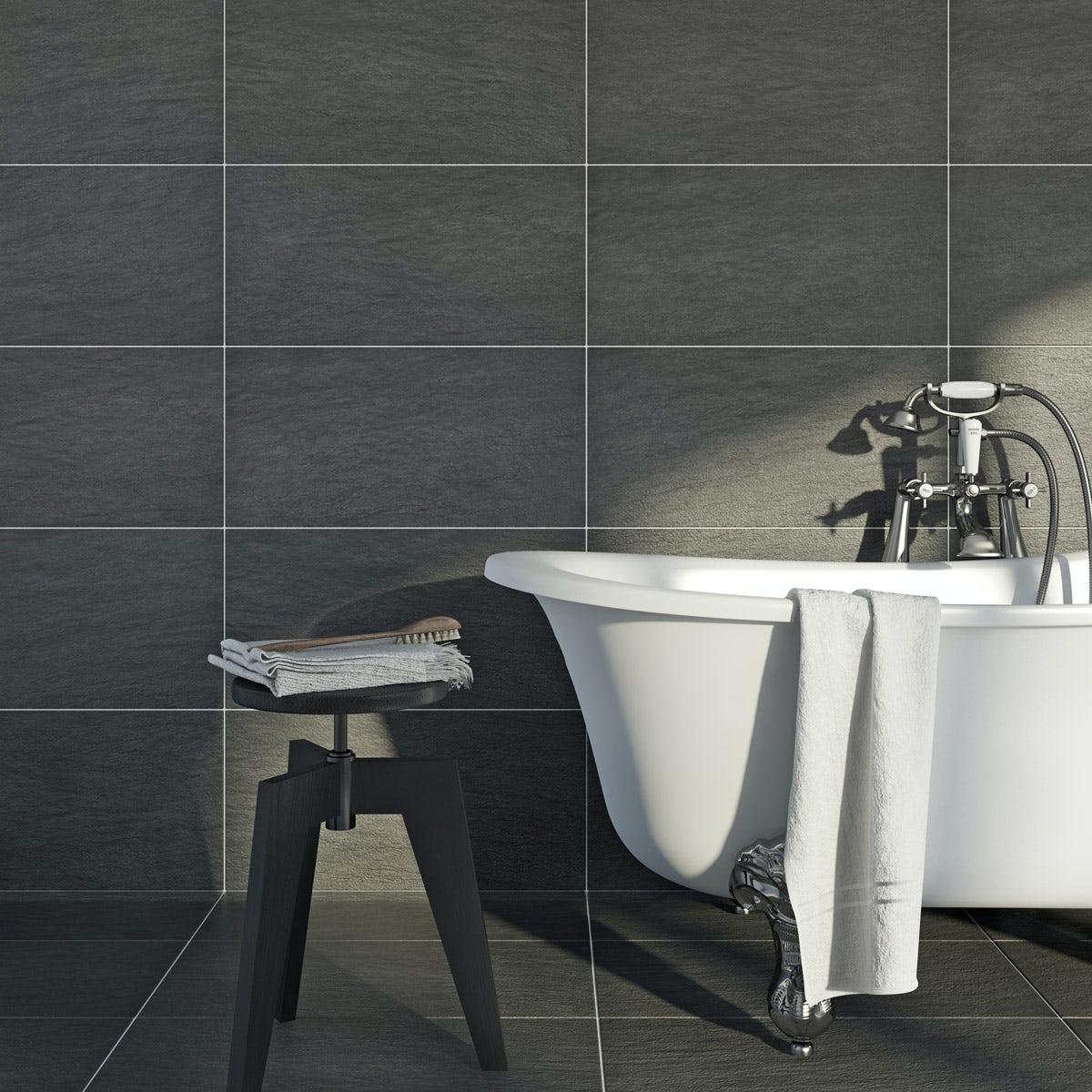 British Ceramic Tile Kaolin porcelain grey anthracite tile 310mm x 620mm