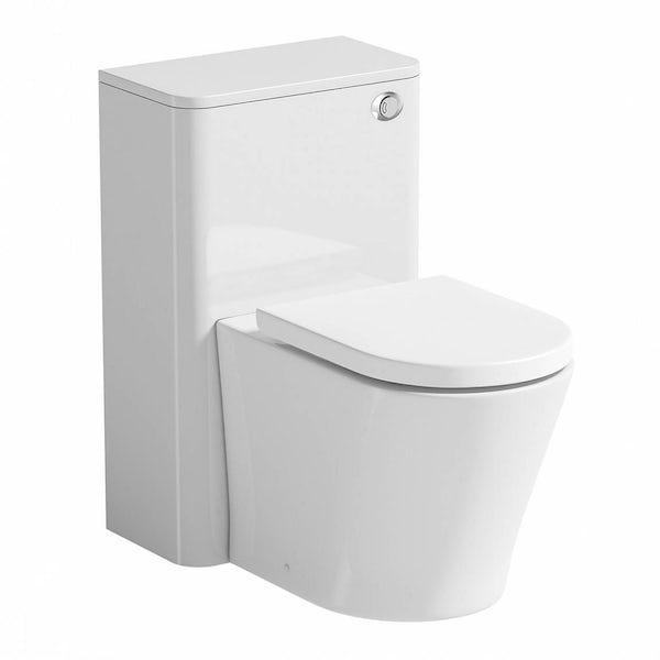Ellis white back to wall toilet unit and Arte toilet with seat