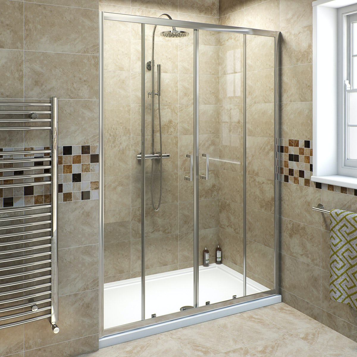 6mm double sliding shower door 1400mm for Solid glass shower doors
