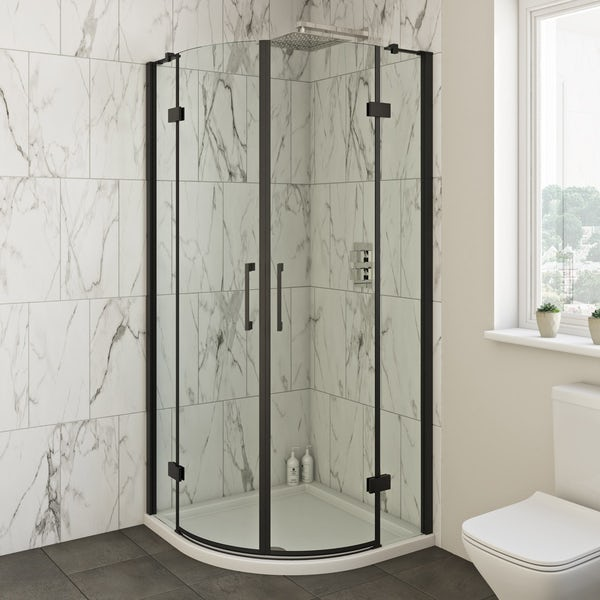 Mode Cooper black hinged quadrant shower enclosure 900 x 900 offer pack