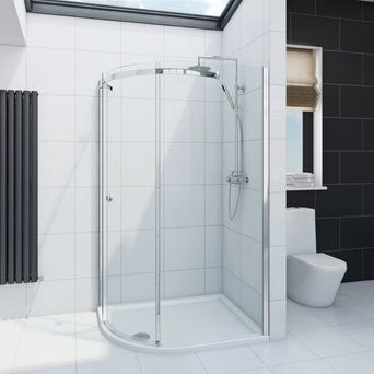 Infiniti 8mm One Door Offset Quadrant Shower Enclosure 1200 x 900 LH