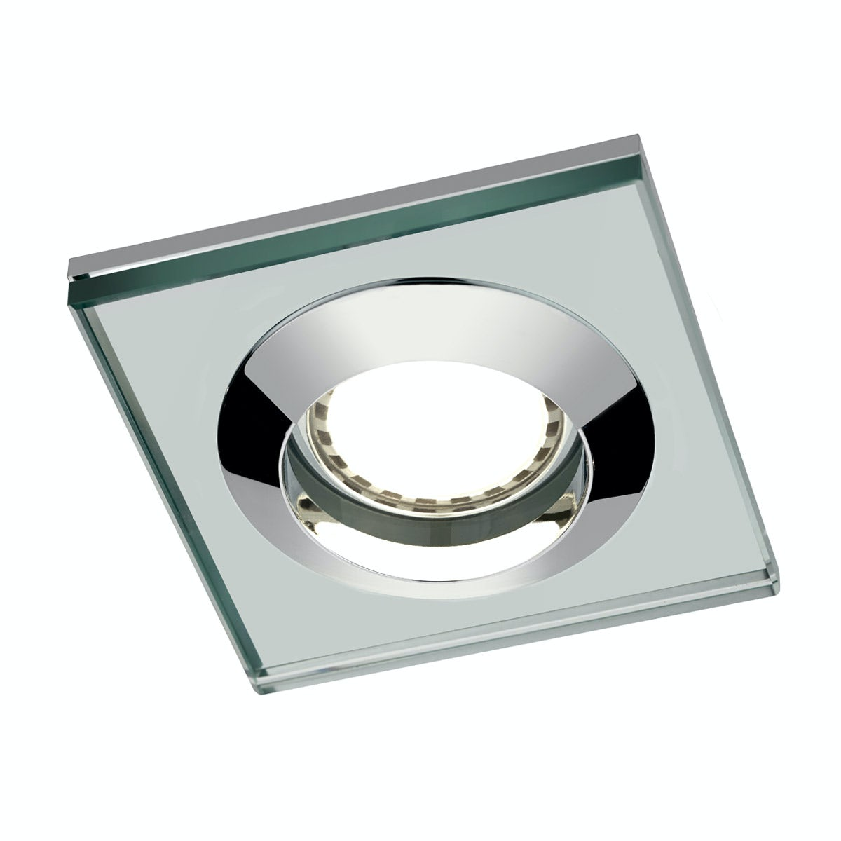 Mode Square glass shower light with dimmable bulb in warm white