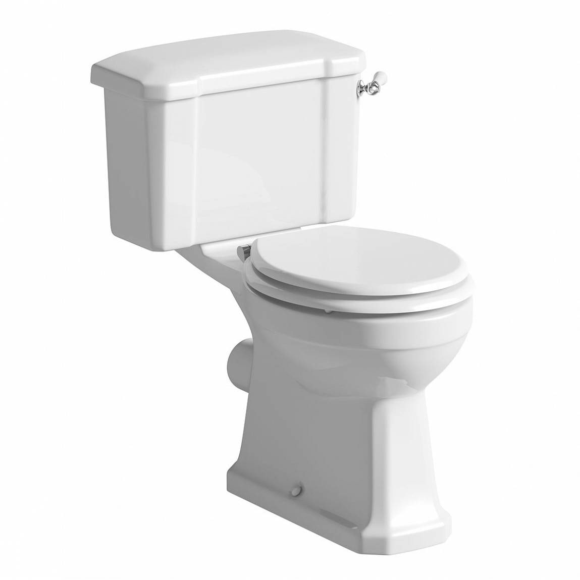The Bath Co. Camberley close coupled toilet with wooden soft close seat white with pan connector