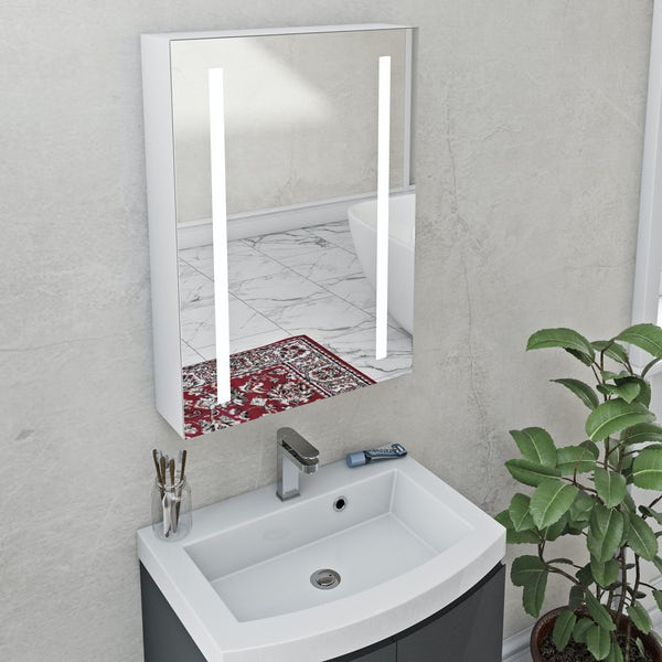 Mode Mellor LED dual lit mirror cabinet 500x700