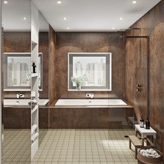 Multipanel Linda Barker Corten Elements Hydrolock shower wall panel
