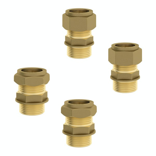 Twin valve straight male connectors pack