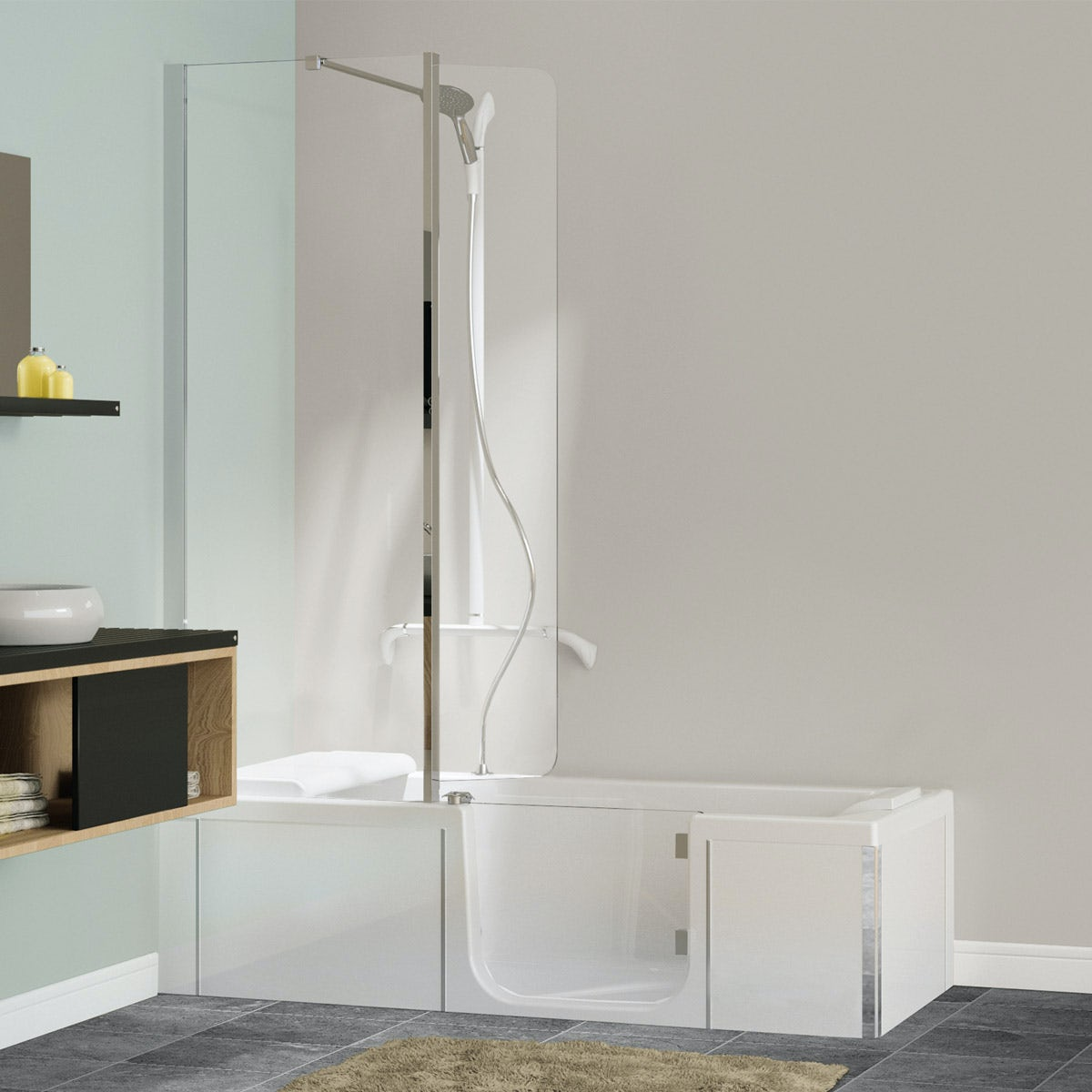Kineduo right handed shower bath with screen and white panel 1700 x 750