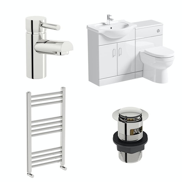 Orchard Eden white 1140 combination unit with back to wall toilet, heated towel rail, tap and waste