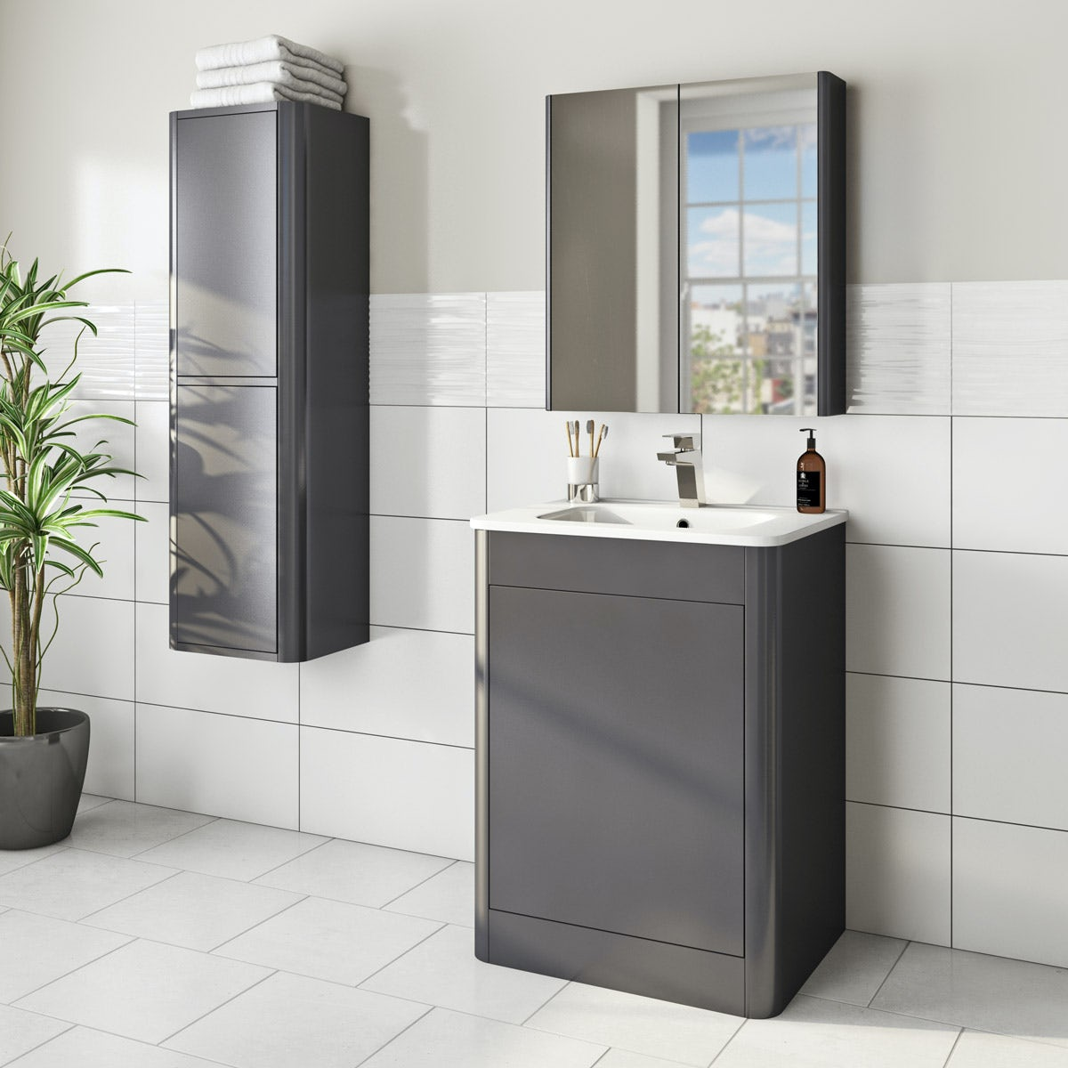 Mode carter slate furniture package with vanity unit 600mm