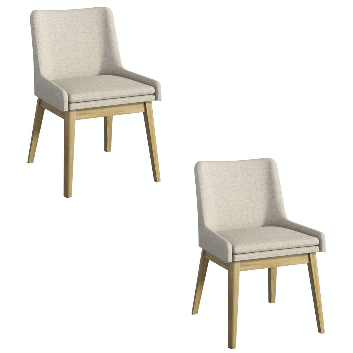 Lincoln oak and beige pair of dining chairs